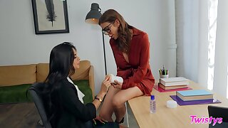 Nerdy girl is in for a spicy lesbian treat with the older woman