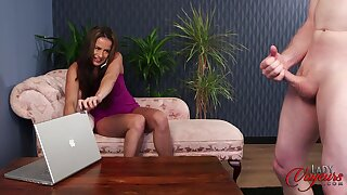 Cock hungry slut Sarah Snow watches a dude stroke his penis