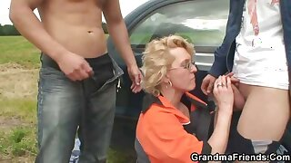 Gas pornographic grandma fucked in the country
