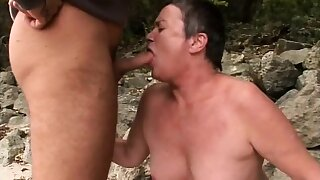 Chubby granny gets beyond everything her knees at the beach and blows then gets banged