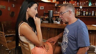 DADDY4K. Pretty brunette copulates with BF's old pa