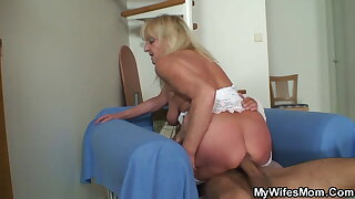 Old pretty good mother-in-law riding his huge dick