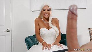 Naughty cougar fucks on her wedding fixture