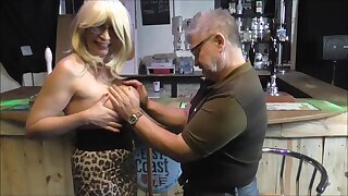 Barby has to work topless to keep her barmaid job
