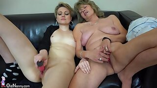 Old and young lesbian czech couple masturbating pussy together