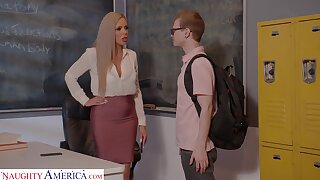 Horny nerdy MILFie cram Nina Elle fucks well with their way student on the desk