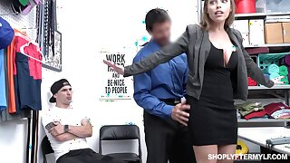Office MILFie slut with nice curves Britney Amber works on cock in the nomination